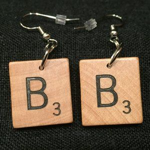 "New Scrabble Tile Earrings ""B"""